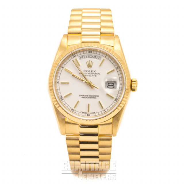 Rolex 18238 Yellow Gold on President, Fluted Bezel White with Gold Index