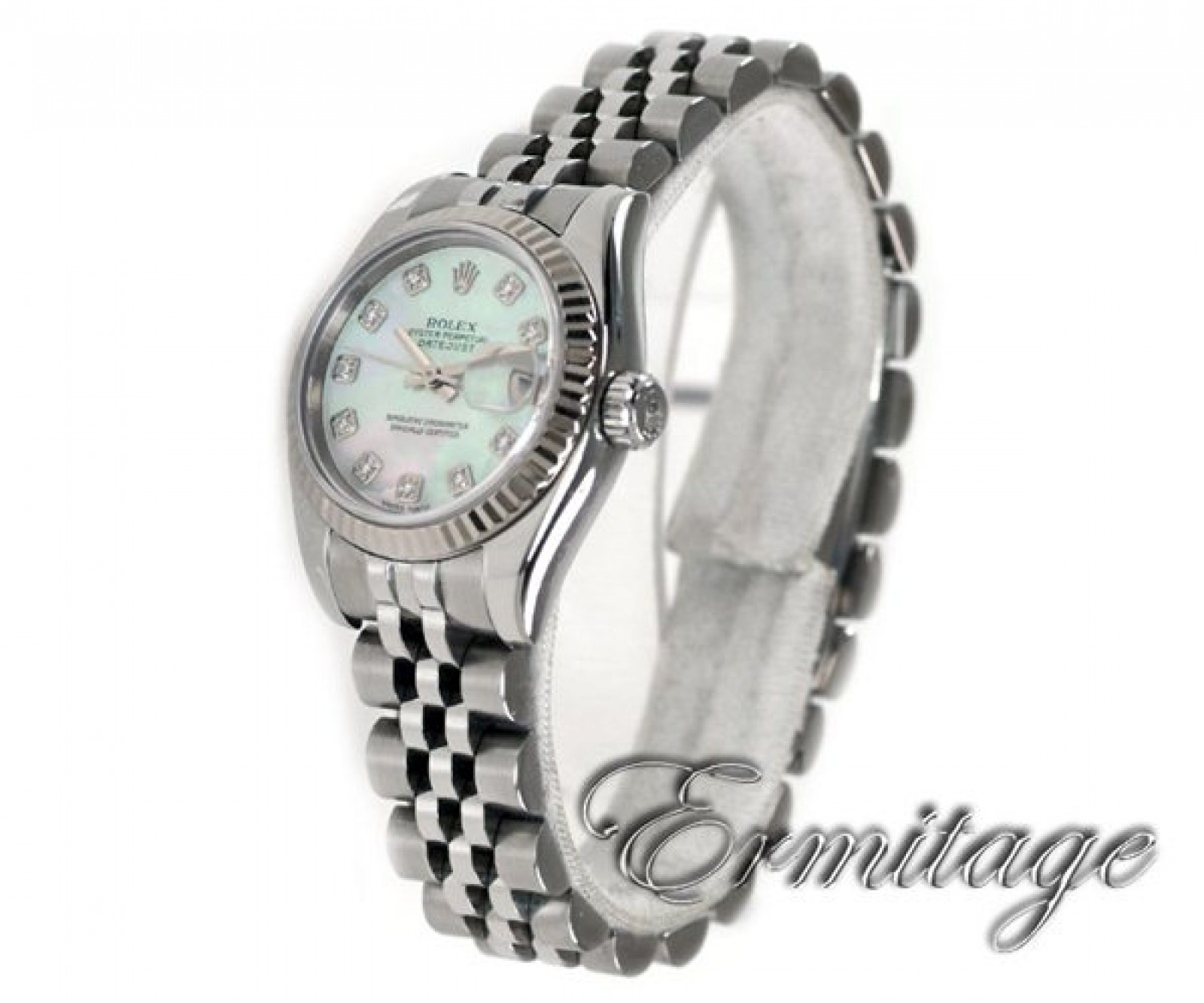 White Diamond Dial Rolex Datejust 179174 with White Gold