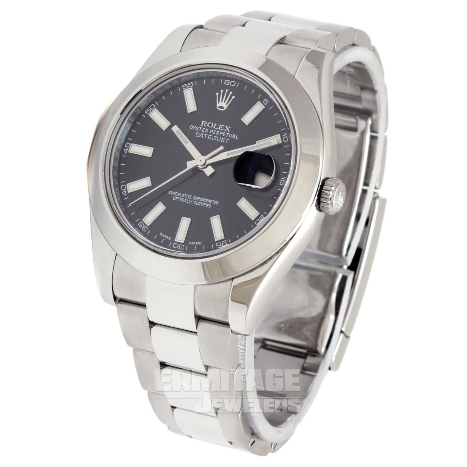 Pre-Owned Stainless Steel Rolex Datejust 116300 with Black Dial