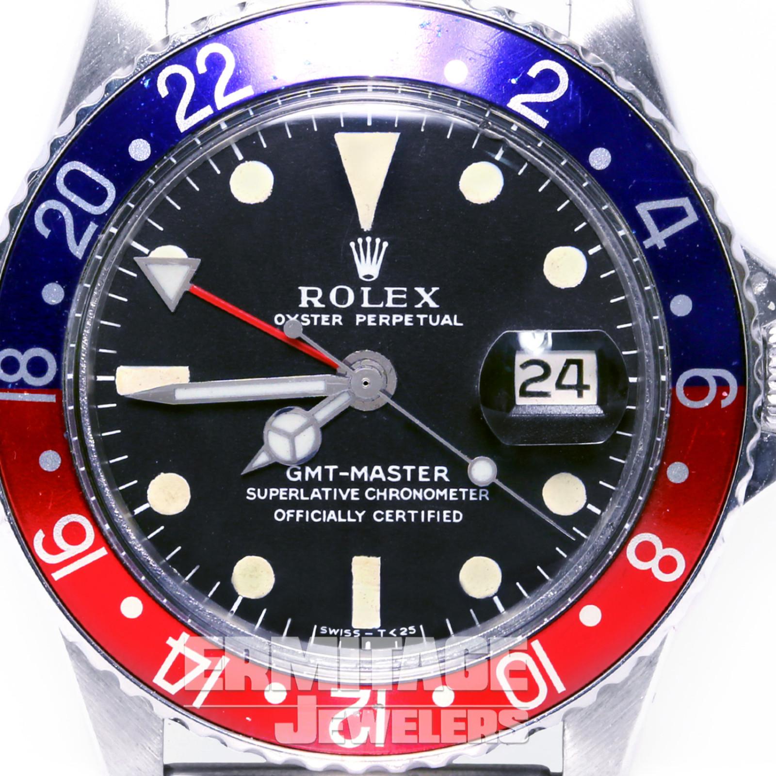 Vintage Rolex 1675 40 mm Steel on Strap Blue & Red Pepsi Style