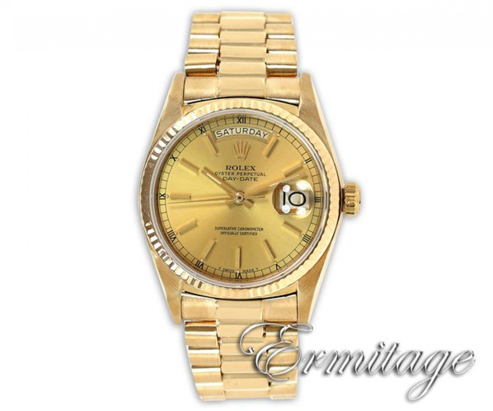 Used Rolex Day-Date 18038 Gold Champagne 1985