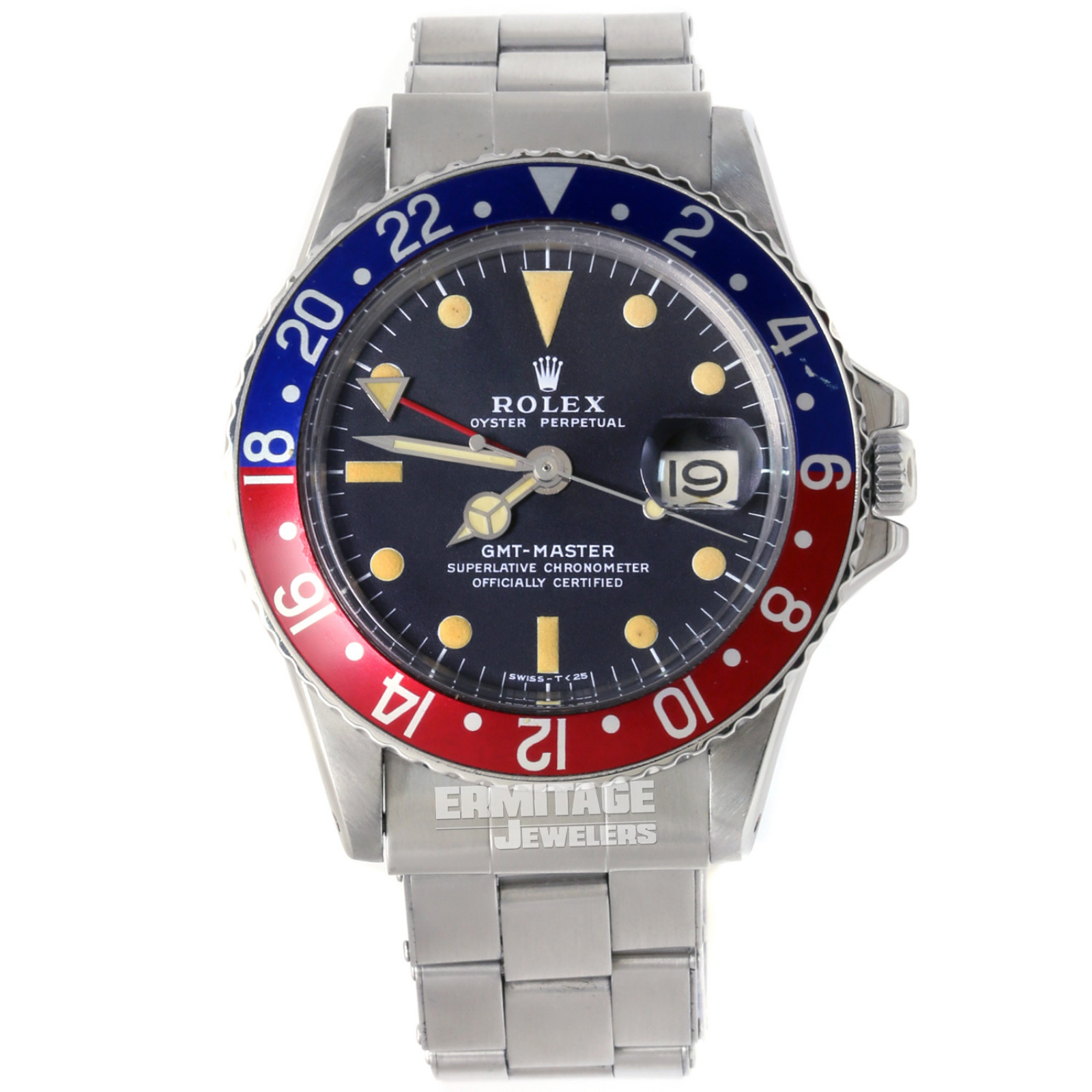 Vintage Rolex 1675 40 mm Steel on Oyster, Blue & Red Ceramic, Pepsi Style Bezel