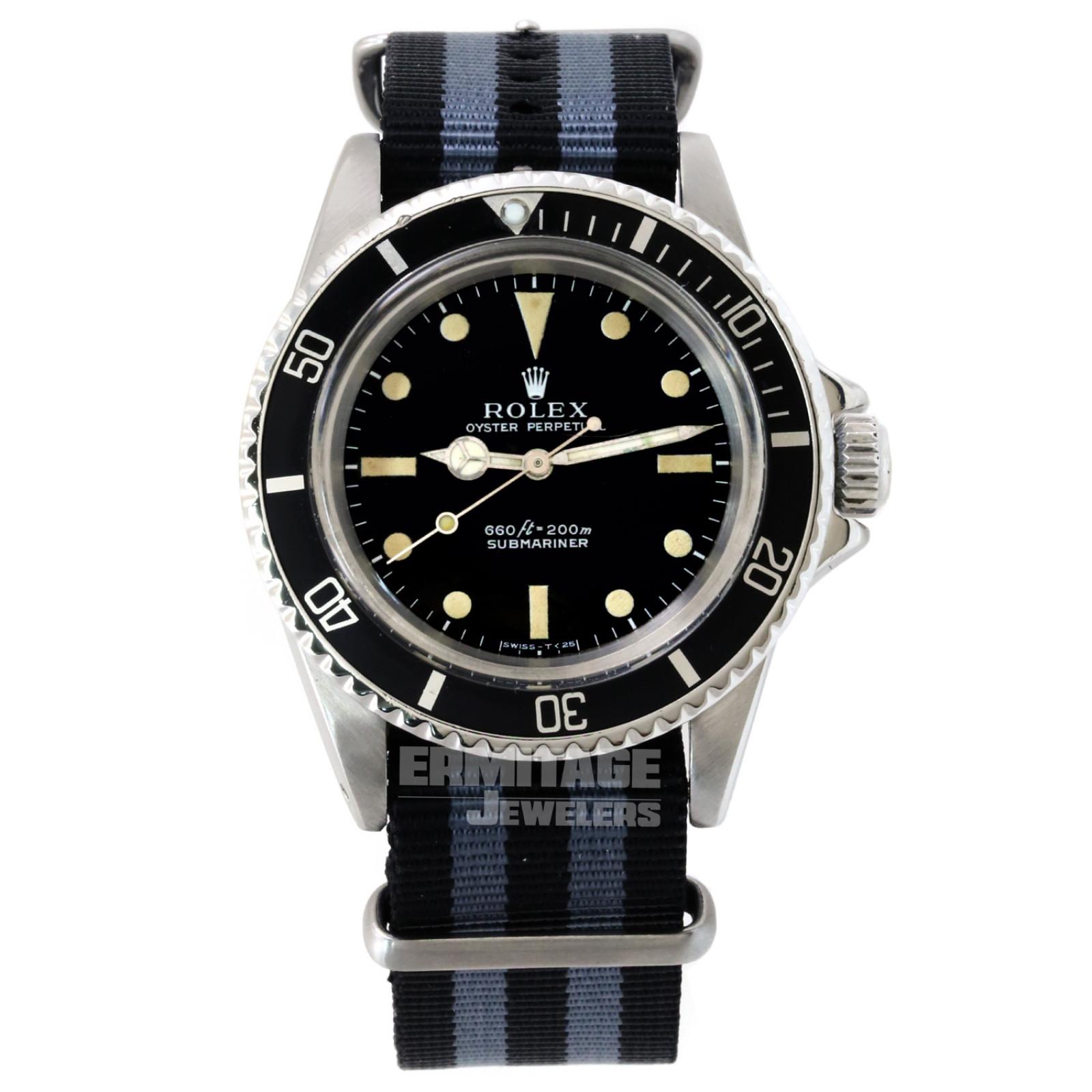 Vintage Rolex 5513 40 mm Steel on Strap, Black Bezel