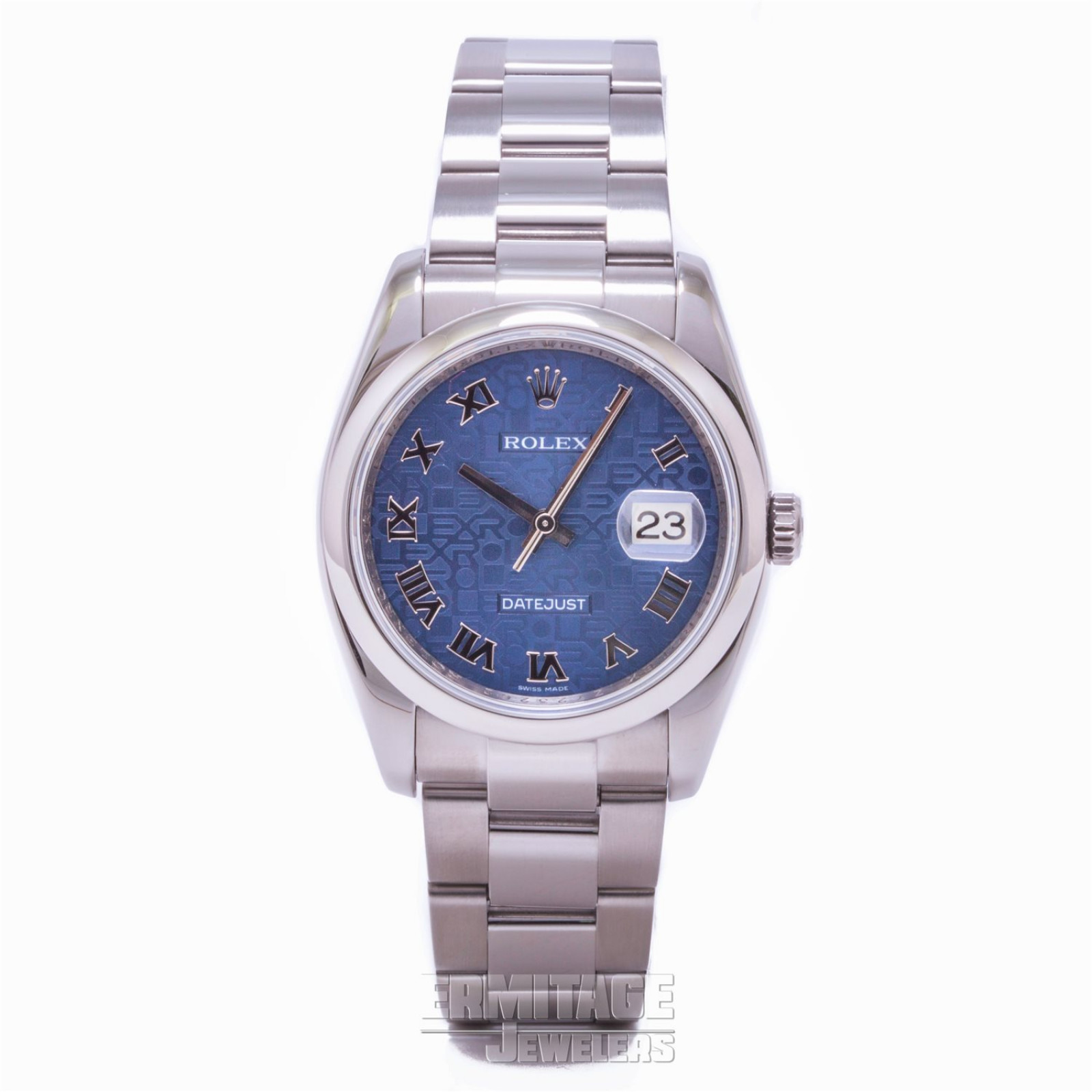 36 mm Rolex Datejust 116200 Steel on Oyster with Blue Jubilee Dial