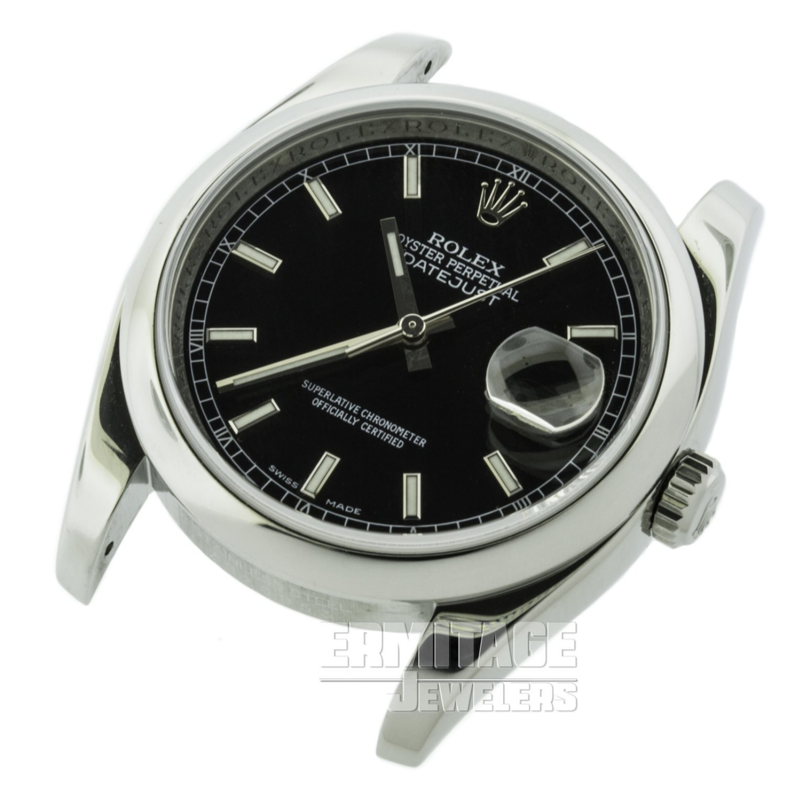 Pre-Owned Stainless Steel Rolex Datejust 116200 with Black Dial
