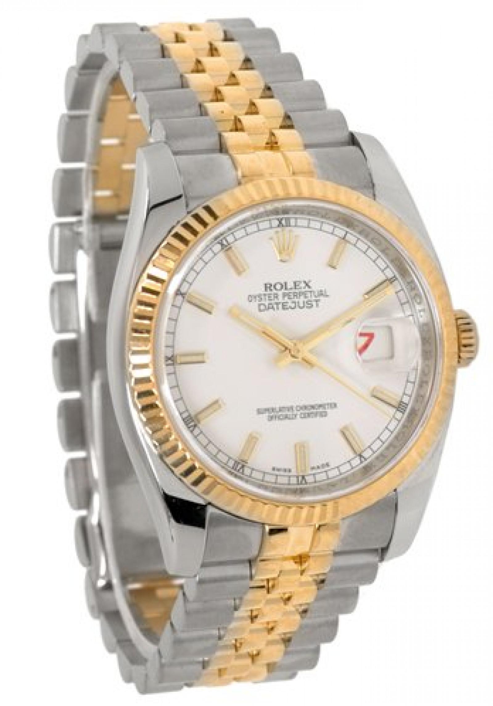 Rolex Datejust 116233 Gold & Steel White Luminous