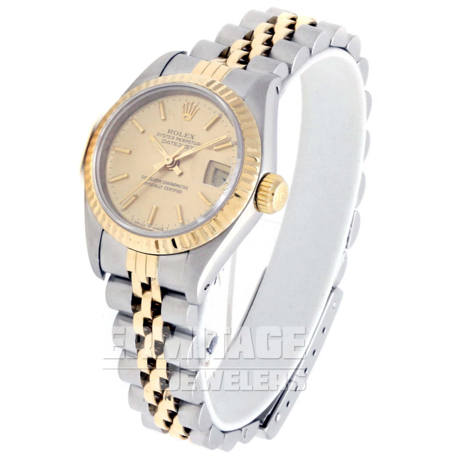 Pre-Owned Gold & Steel Rolex Datejust 69173 with Champagne Dial