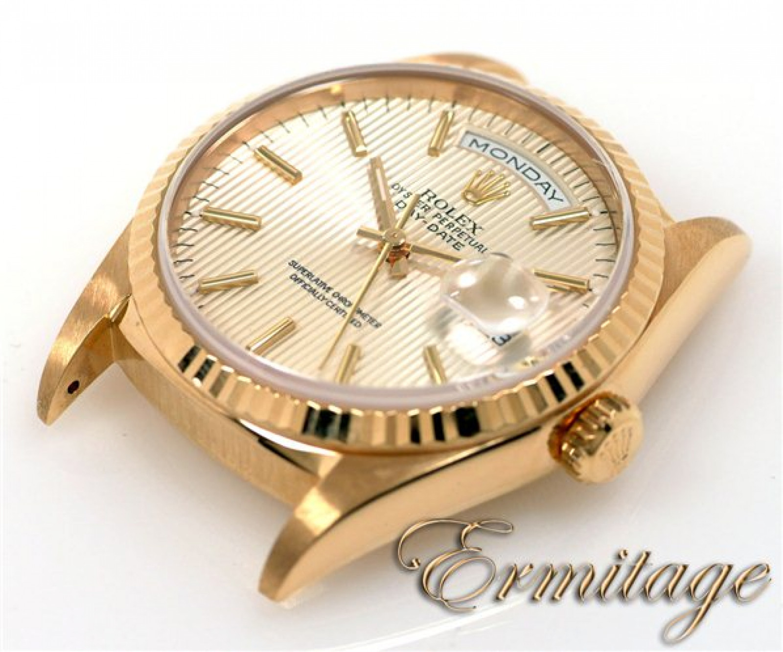 Pre-Owned Rolex Day-Date 18238 with Silver Tapestry Dial