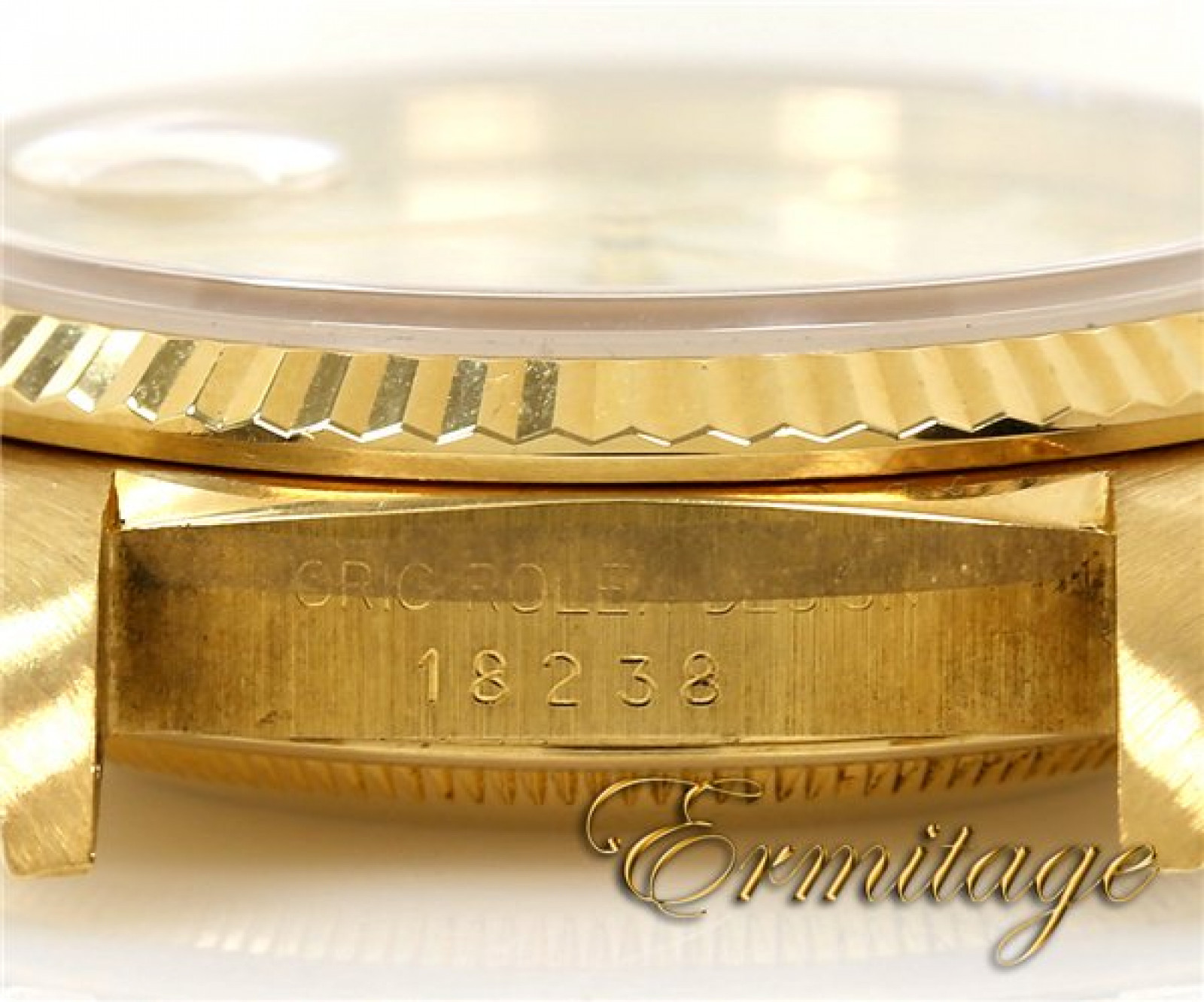 Pre-Owned Rolex Day-Date 18238 with White Pyramid Dial