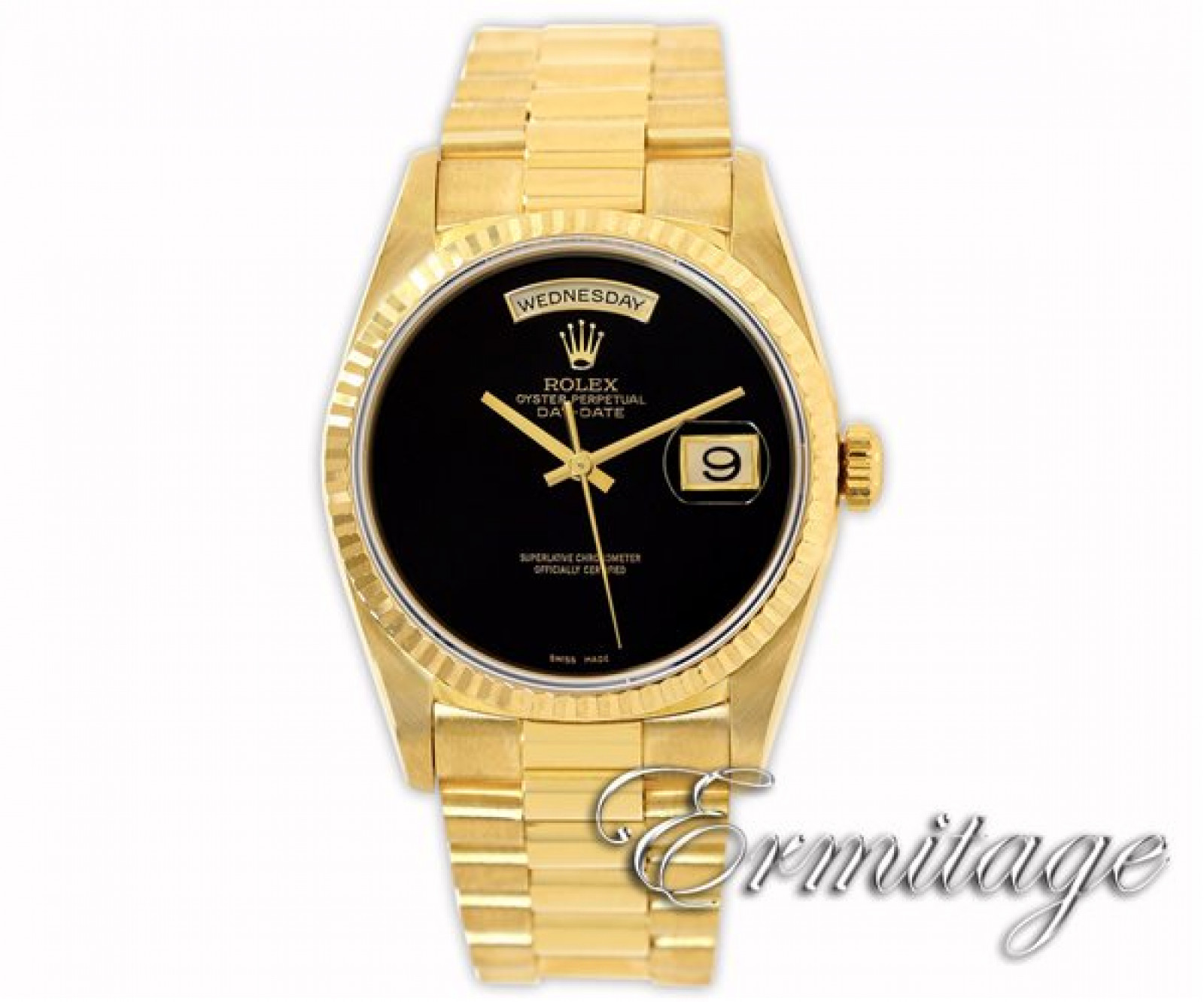 Pre-Owned Rolex Day-Date 18238 with Black Onyx Dial