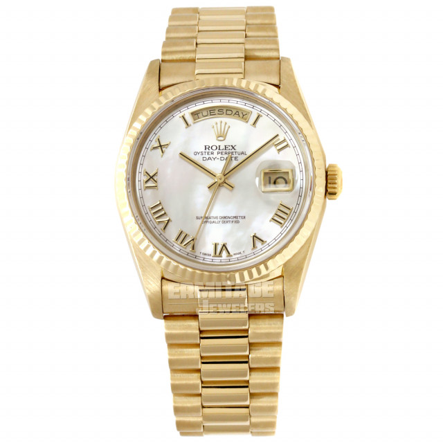 Rolex 18238 Yellow Gold on President, Fluted Bezel Mother Of Pearl White Diamond Dial