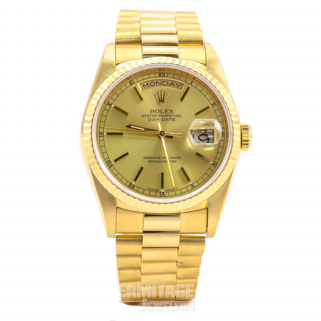 Rolex 18238 Yellow Gold on President, Fluted Bezel Blue with Gold Index