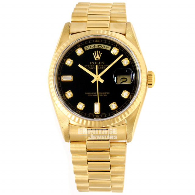 Rolex 18238 Yellow Gold on President, Fluted Bezel Black Diamond Dial