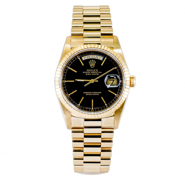 Rolex 18238 Yellow Gold on President, Fluted Bezel Black with Gold Index