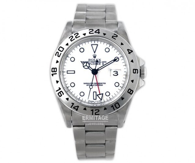 Pre-Owned Rolex Explorer II 16570 Stainless Steel 40 mm Luminous Dots & Index