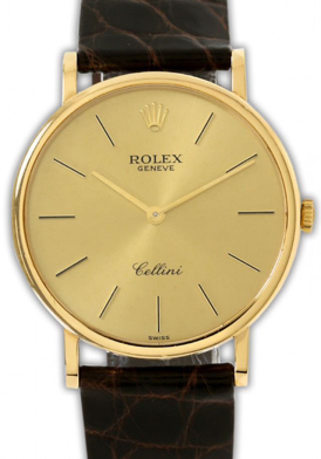 Rolex 5112 Yellow Gold on Strap Champagne with Gold Index