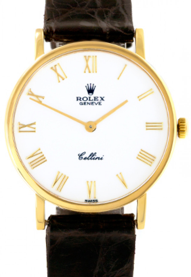 Rolex 5112 Yellow Gold on Strap White with Gold Roman