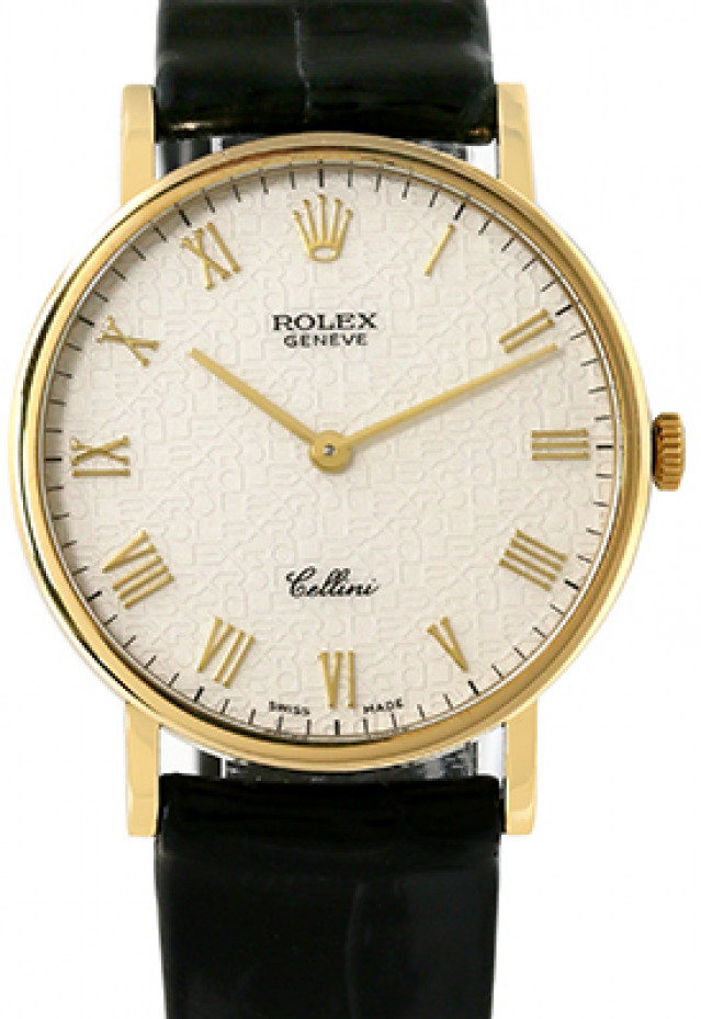 Rolex 5112 Yellow Gold on Strap Ivory Jubilee with Gold Roman