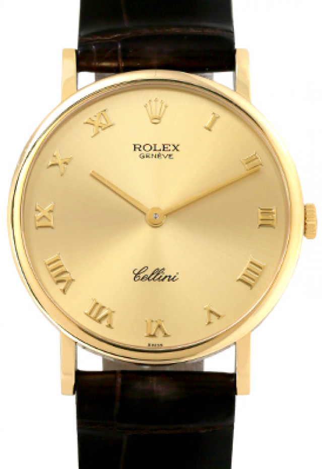 Rolex 5112 Yellow Gold on Strap Champagne with Gold Roman