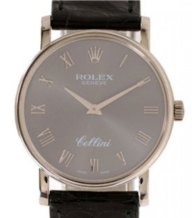 Rolex 5115 White Gold on Strap Slate with White Gold Roman