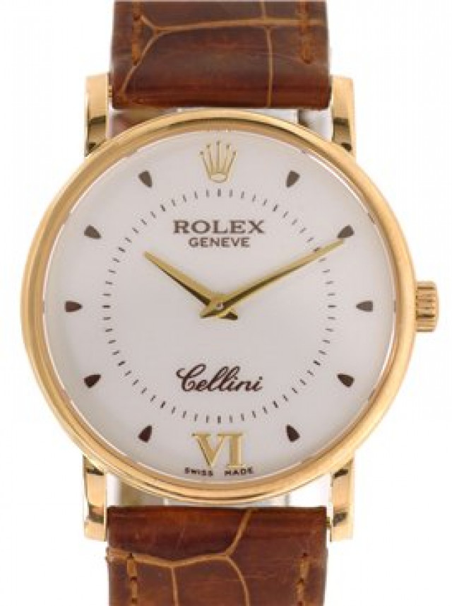 Rolex 5115 Yellow Gold on Strap Steel with Gold Roman 6 & Dots