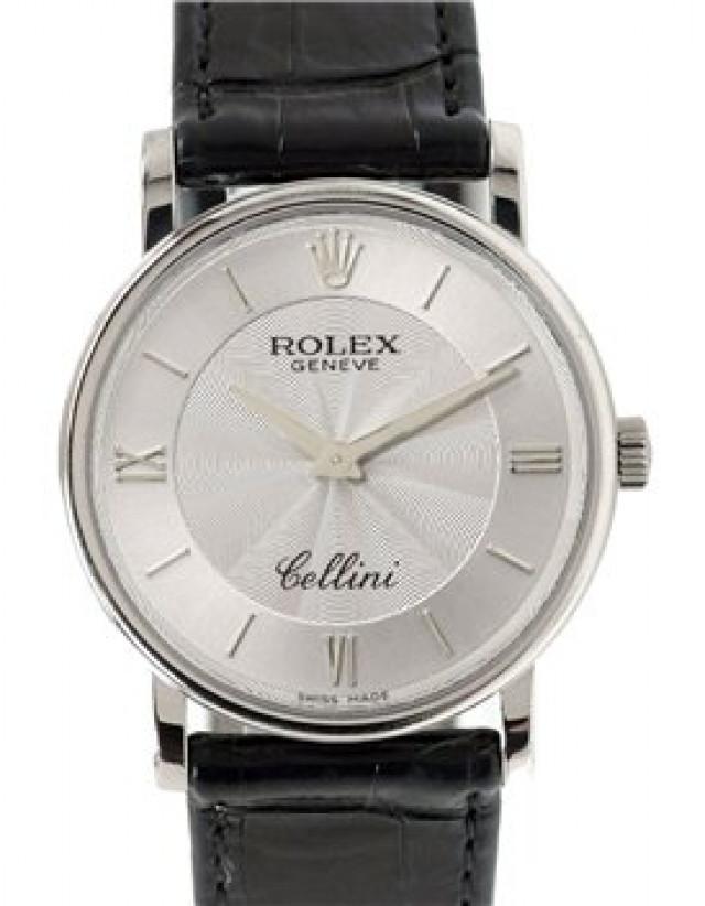 Rolex 5115 White Gold on Strap Steel Guilloche with Silver Index & Roman III & VI & IX