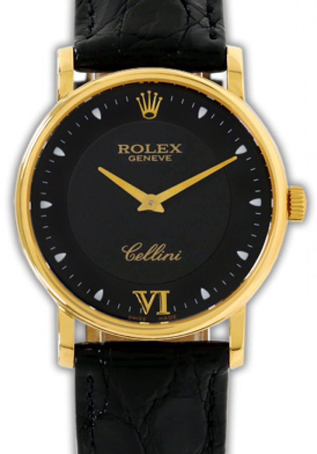 Rolex 5115 Yellow Gold on Strap Black with Gold Roman 6 & Dots