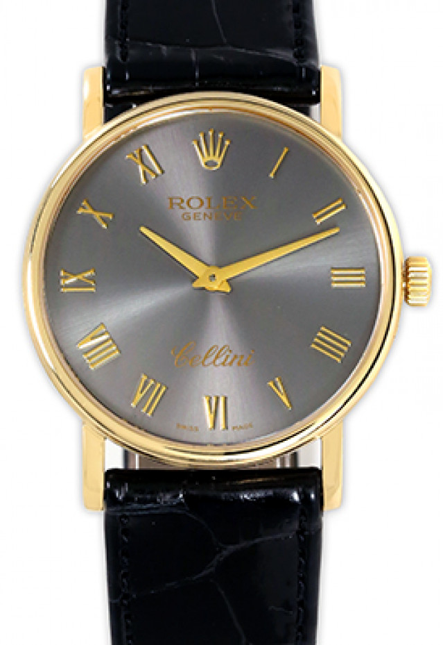 Rolex 5115 Yellow Gold on Strap Slate with Gold Roman