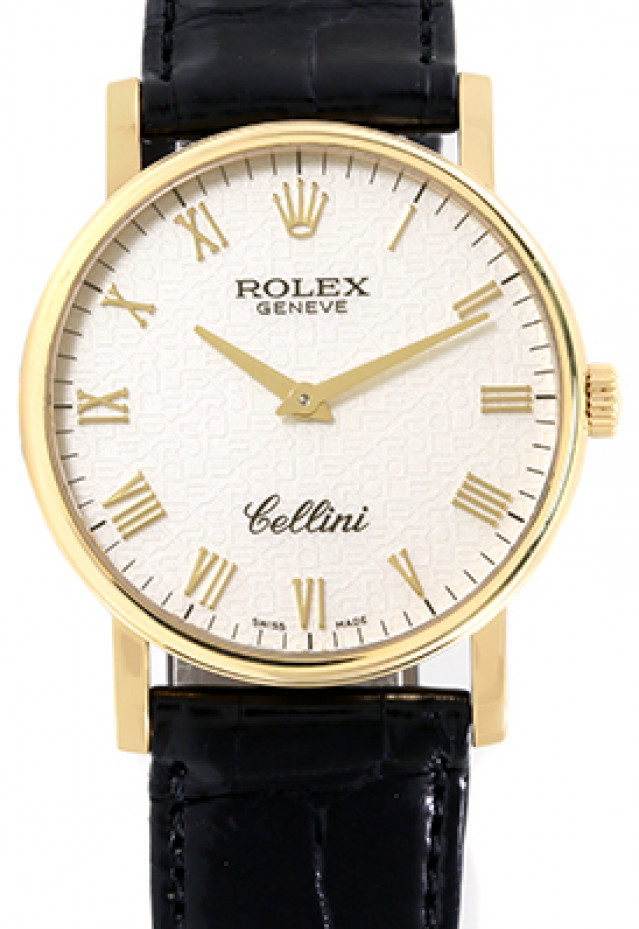 Rolex 5115 Yellow Gold on Strap Ivory Jubilee with Gold Roman