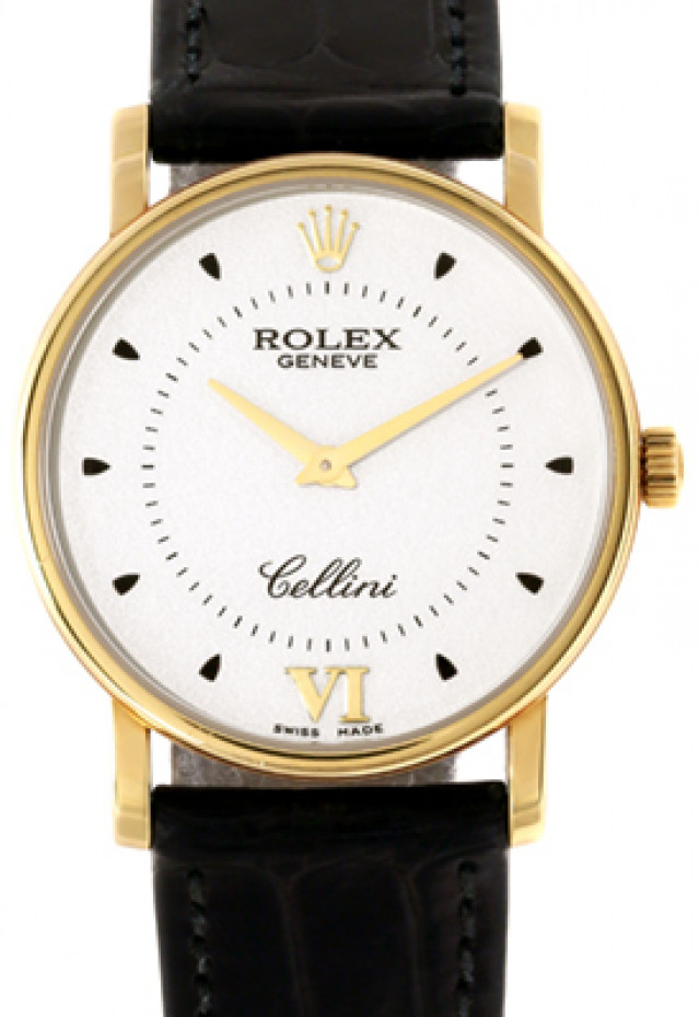 Rolex 5115 Yellow Gold on Strap Silver with Gold Roman