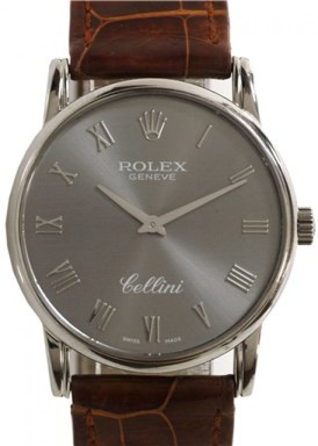 Rolex 5116 White Gold on Strap Slate with White Gold Roman