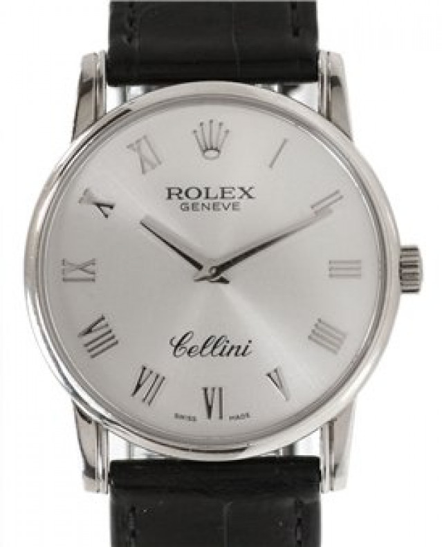 Rolex 5116 White Gold on Strap Steel with White Gold Roman