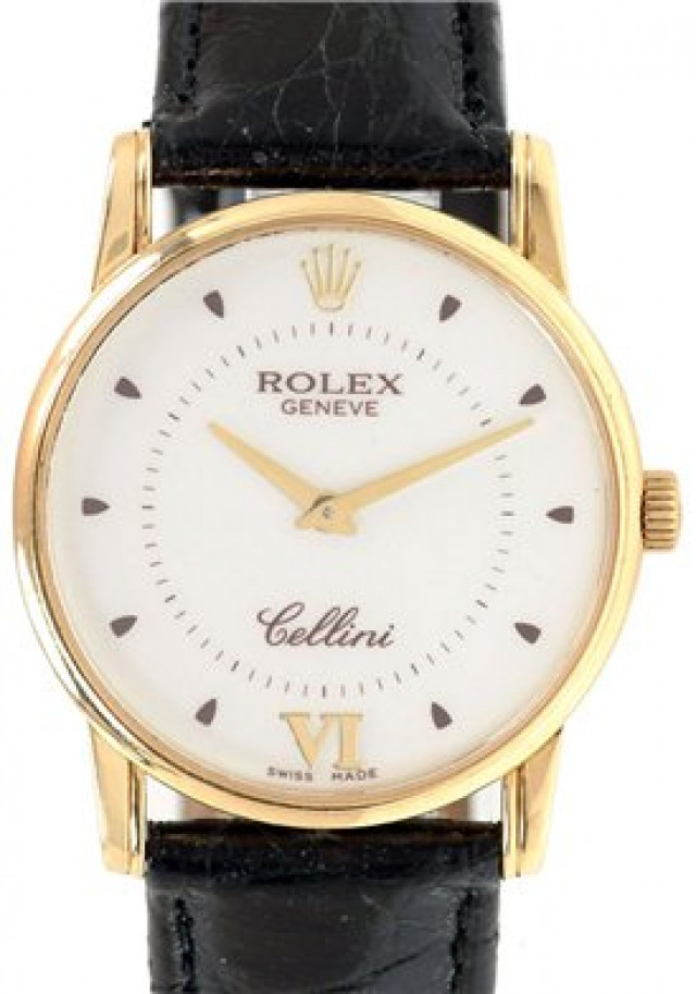 Rolex 5116 Yellow Gold on Strap Steel with Gold Roman 6 & Dots