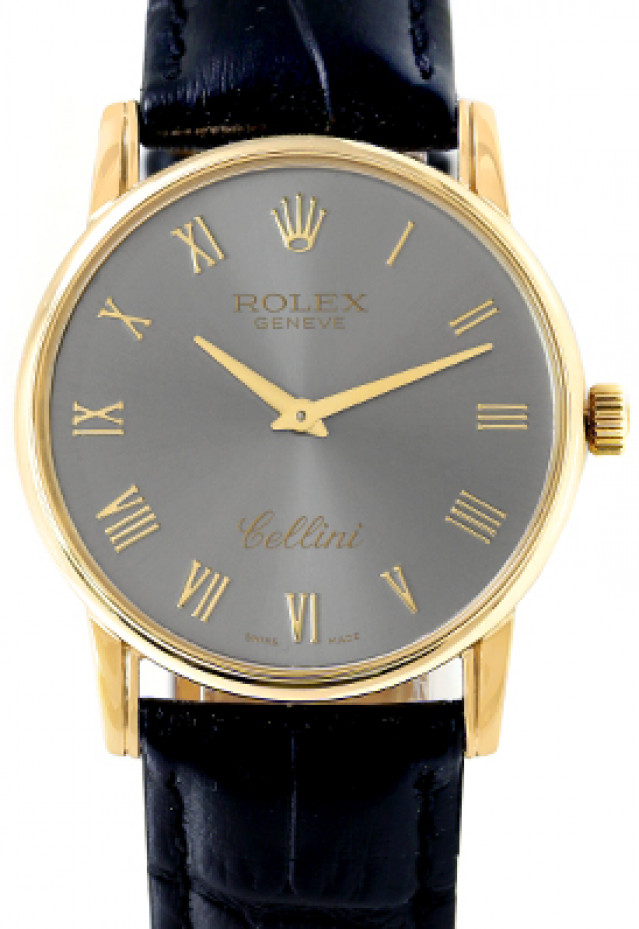 Rolex 5116 Yellow Gold on Strap Slate with Gold Roman
