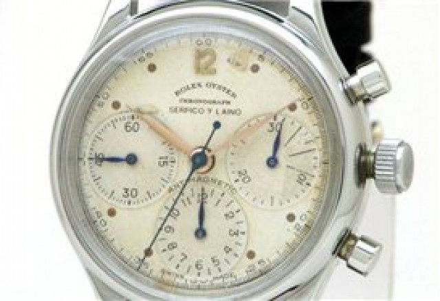 Rolex 4048 Steel on Strap, Domed Bezel White with Dots & Arabic 12