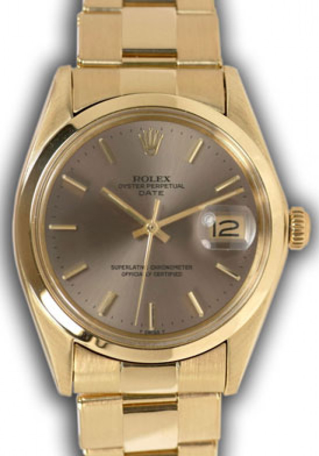 Rolex 1500 Yellow Gold on Oyster, Smooth Bezel Bronze with Gold Index