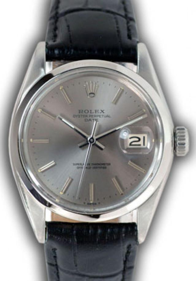 Rolex 1500 Steel on Strap, Smooth Bezel Steel Pattern with Silver Index