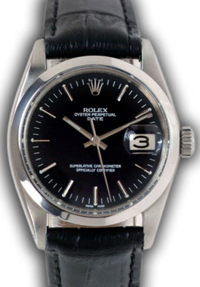 Rolex 1500 Steel on Strap, Smooth Bezel Black with Silver Index
