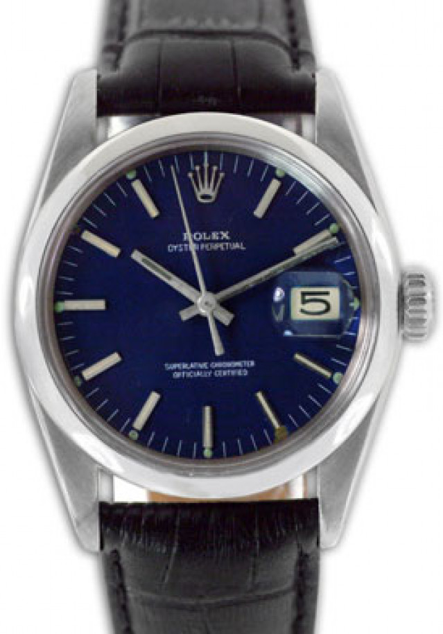 Rolex 1500 Steel on Strap, Smooth Bezel Blue with Silver Index