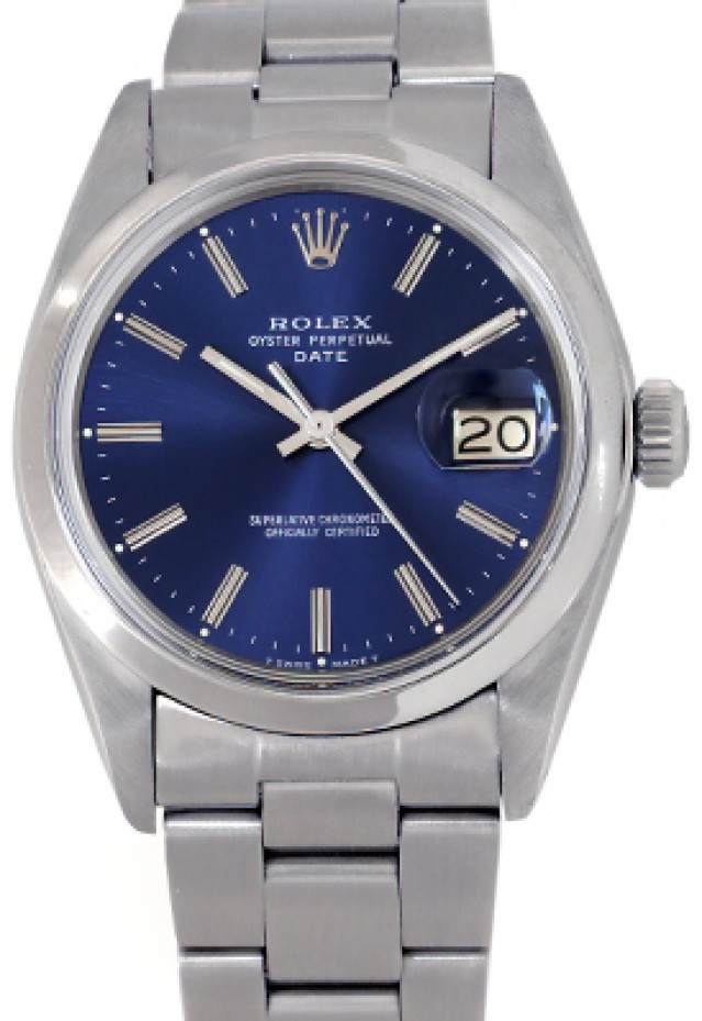 Rolex 1500 Steel on Oyster, Smooth Bezel Blue with Silver Index