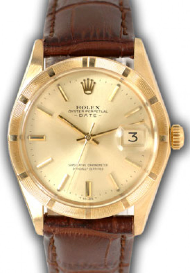 Rolex 1501 Yellow Gold on Strap, Engine Turned Bezel Champagne with Gold Index