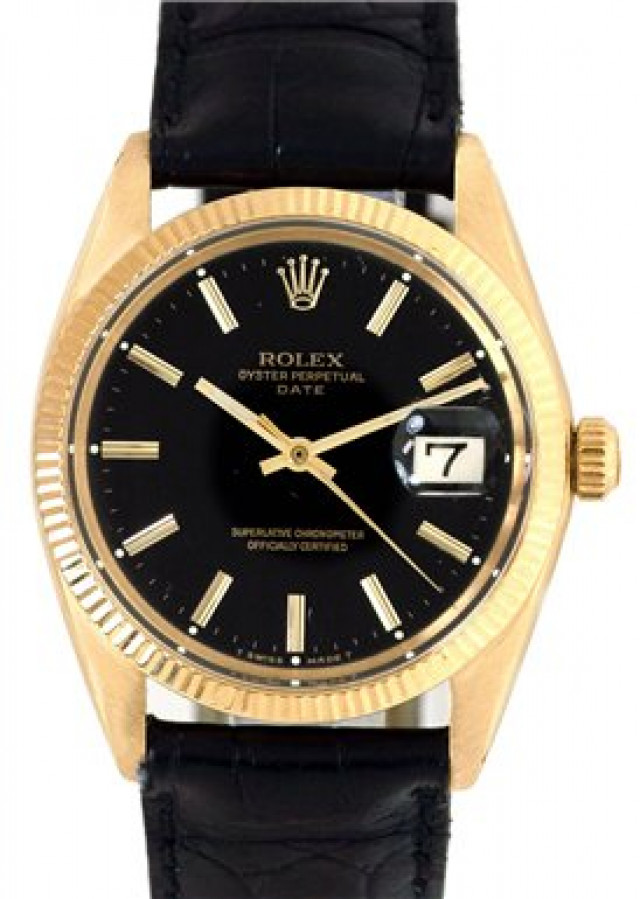 Rolex 1503 Yellow Gold on Strap, Fluted Bezel Black with Gold Index