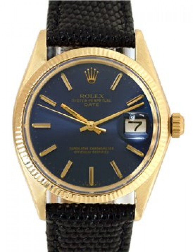 Rolex 1503 Yellow Gold on Strap, Fluted Bezel Blue with Gold Index