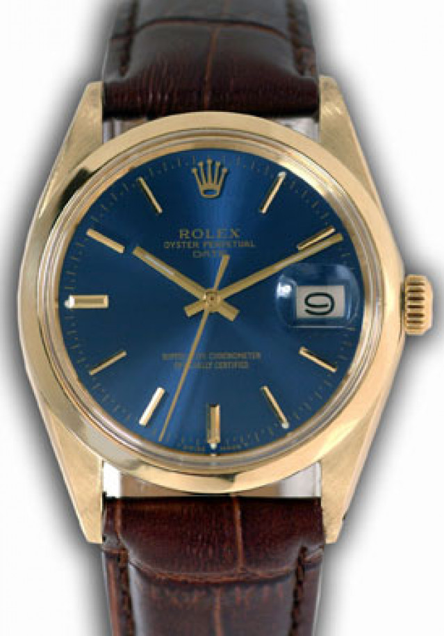 Rolex 1503 Yellow Gold on Strap, Smooth Bezel Blue with Gold Index