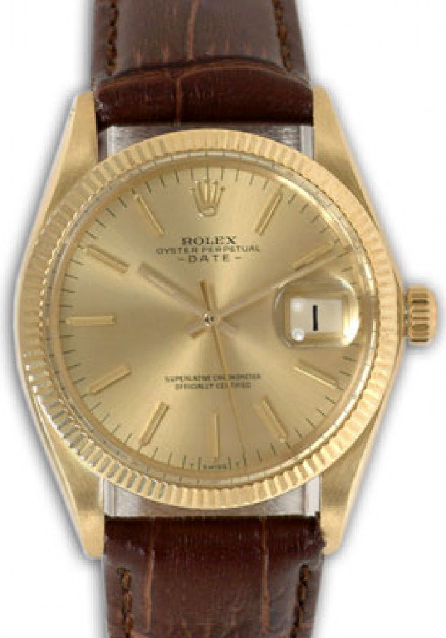 Rolex 1503 Yellow Gold on Strap, Fluted Bezel Champagne with Gold Index