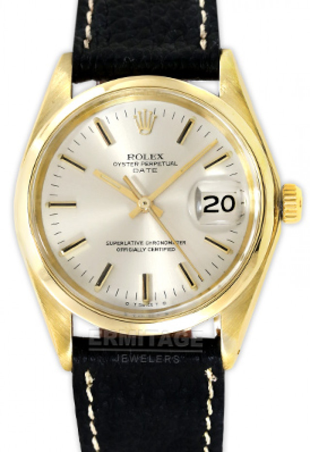 Rolex 1503 Yellow Gold on Strap, Fluted Bezel Steel with Gold Index