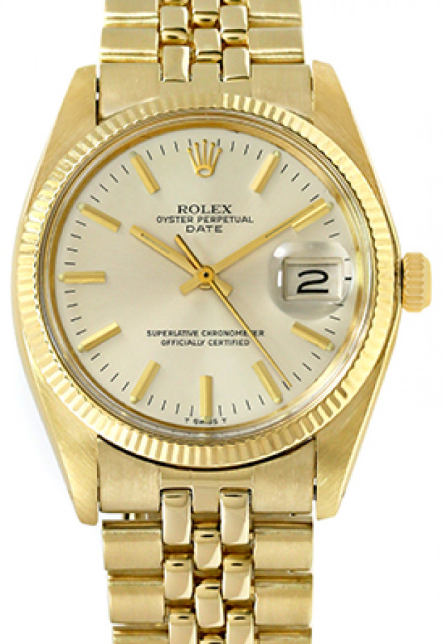 Rolex 1503 Yellow Gold on Jubilee, Fluted Bezel Steel with Gold Index