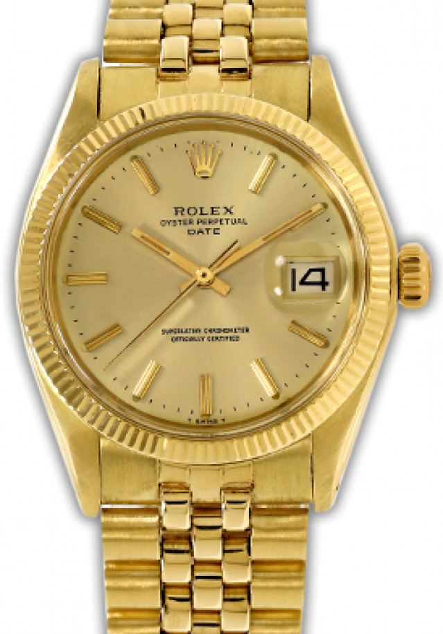 Rolex 1503 Yellow Gold on Jubilee, Fluted Bezel Champagne with Gold Index