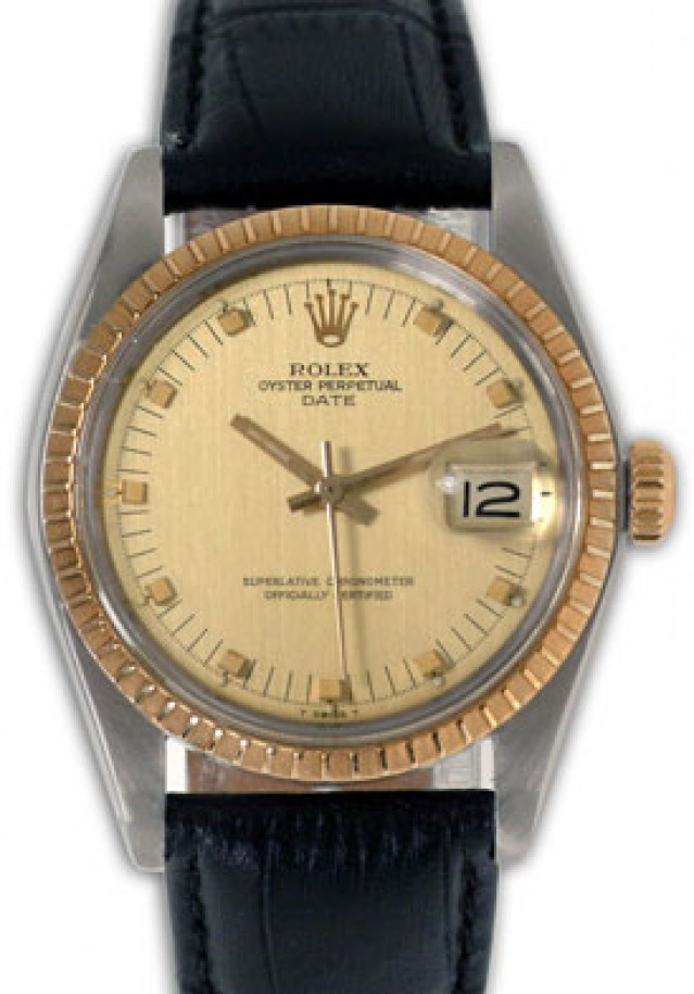 Rolex 1505 Yellow Gold & Steel on Strap, Finely Engine Turned Bezel Champagne with Gold Index