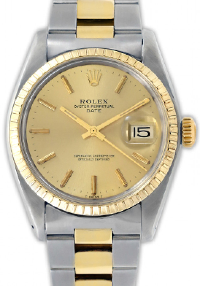 Rolex 1505 Yellow Gold & Steel on Oyster, Finely Engine Turned Bezel Champagne with Gold Index